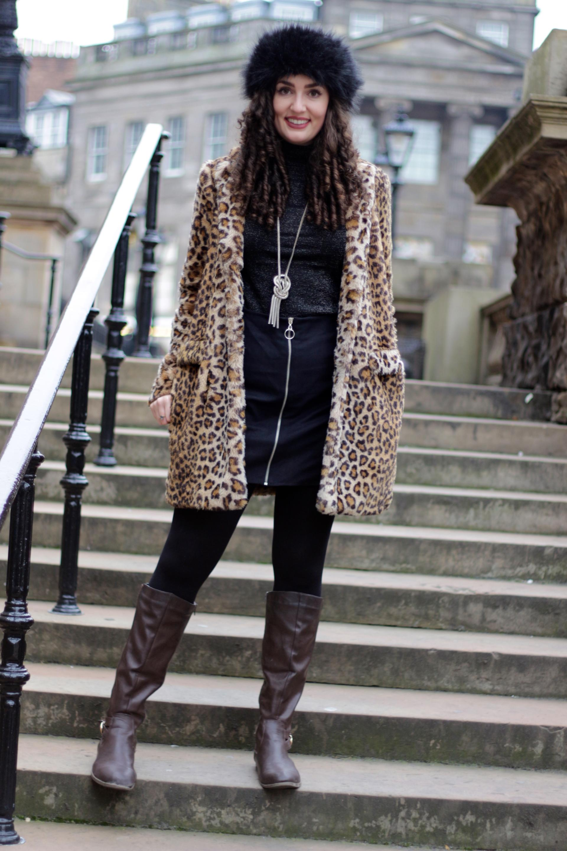 Black Faux Fur Front Row Coat Brown Leopard Print Zara Boots