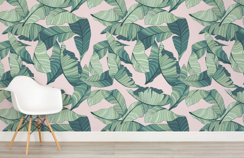 pink-and-green-tropical-leaf-design-room-820x532