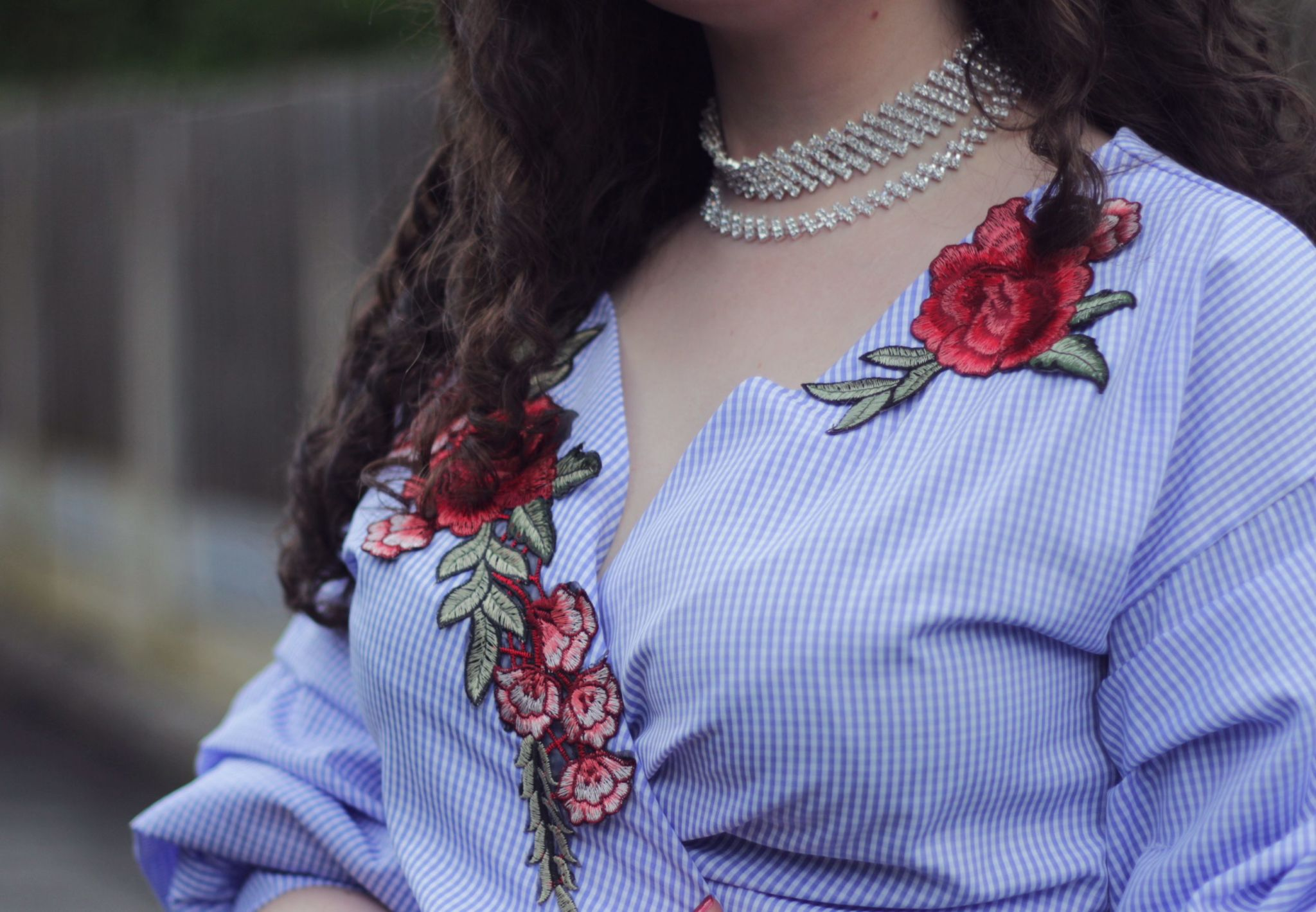embroidered gingham wrap blouse detail